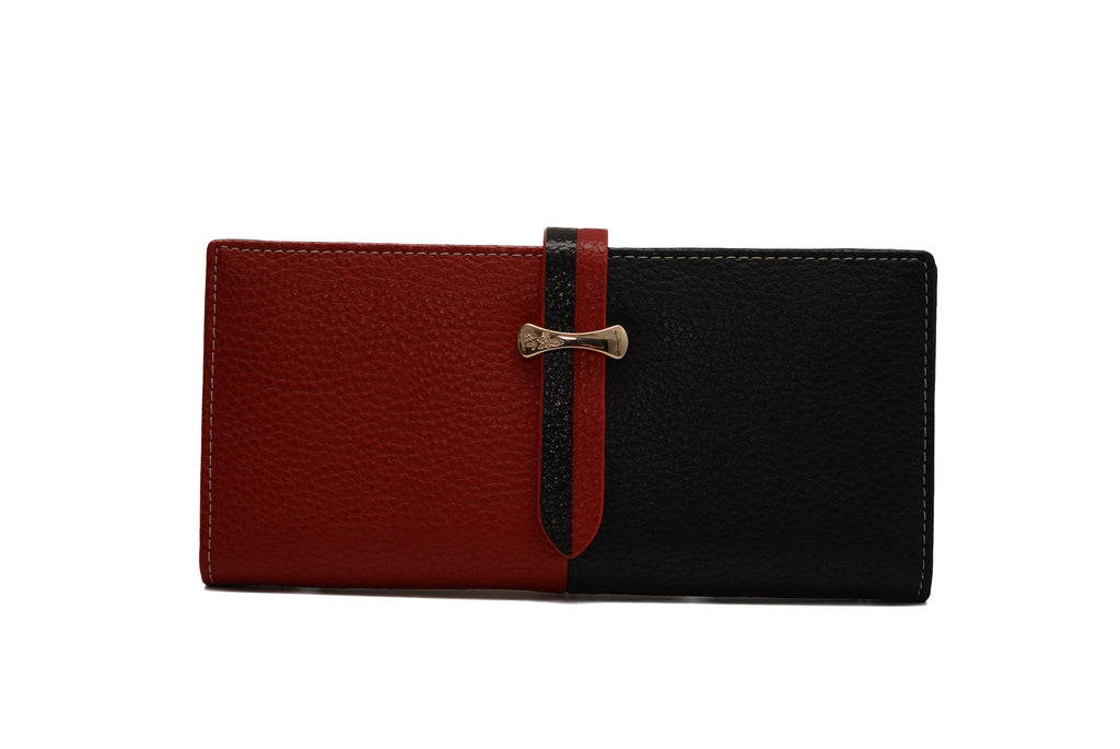 Red & Black PU Leather Purse by Claudia Canova