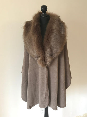 Faux Fur Wrap Style Cape in Taupe