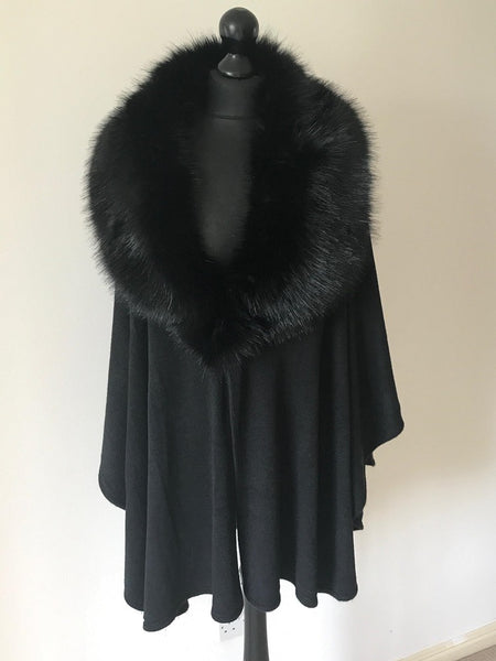 Faux Fur Wrap Style Cape in Black