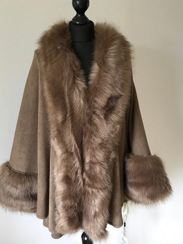Faux Fur Cape Style Jacket in Taupe