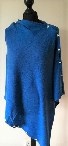 Poncho in Royal Blue Cashmere