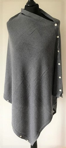 Cashmere Poncho in Grey