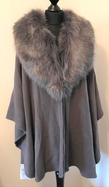 Faux Fur in Panna Cape Style Jacket