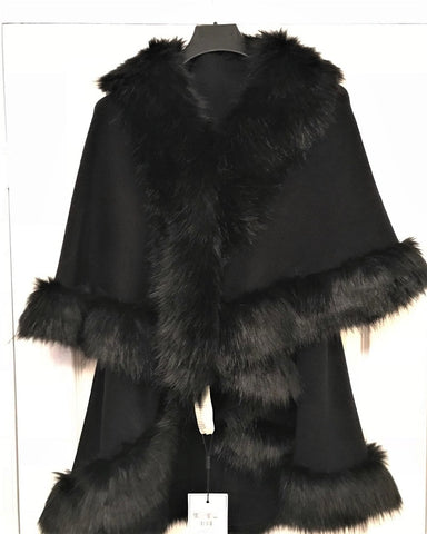 Faux Fur Gilet Cape in Black