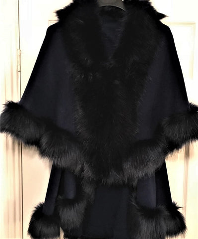 Gilet Cape in Navy Faux Fur