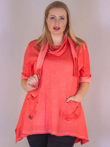 Coral Star Pocket Top