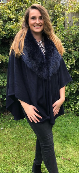 Faux Fur  Cape in Navy