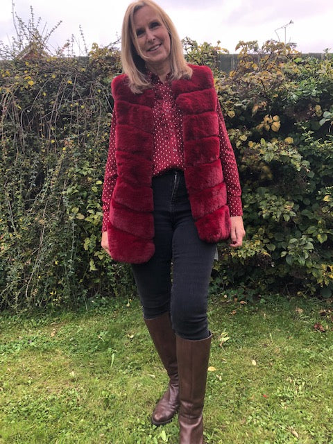 Red Gilet in Faux Fur