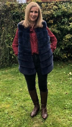 Blue Gilet in Faux Fur