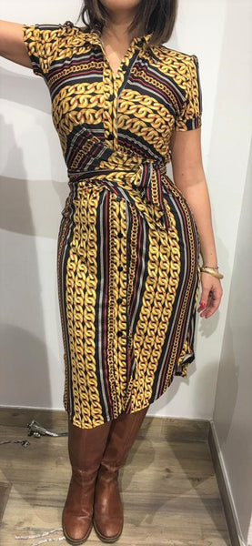 Dress from Paris Mustard Patterned