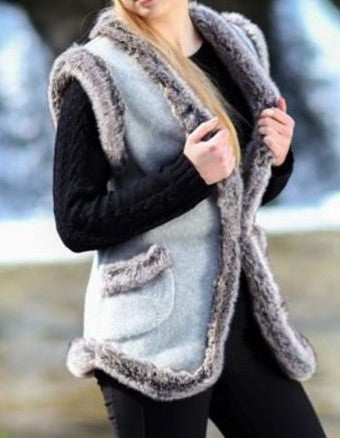 Gilet With Faux Fur Edging