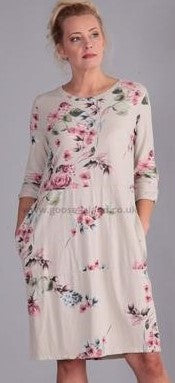 Beige Flower Casual Dress