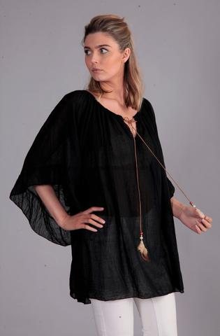 A New: Black Feather Tie Top