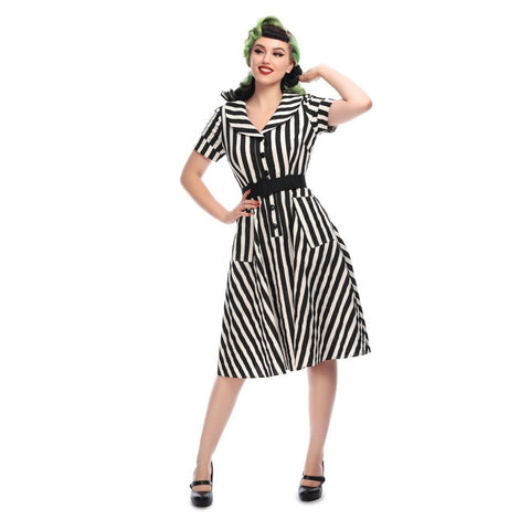 Black and White Stripe Swing Dress