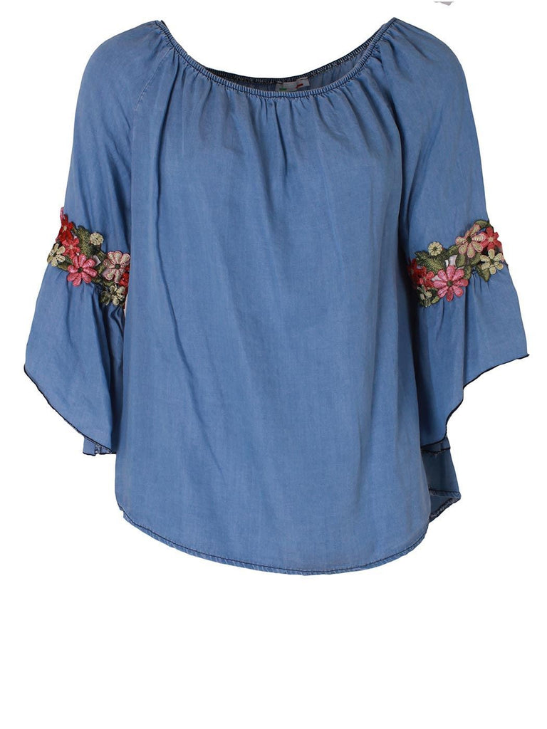 Dark Denim Top with Floral Applique Bell Sleeves
