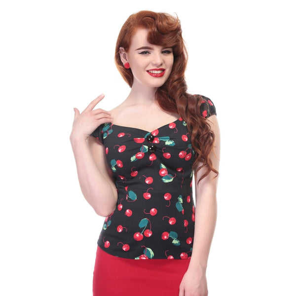 Dolores Cotton Top in Cherry