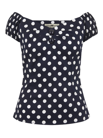 Dolores Cotton Top in Polka Dot Navy