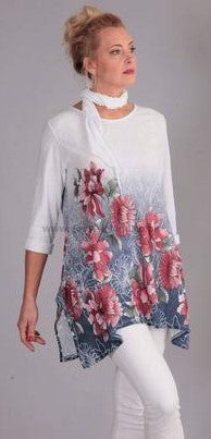 Flower Print Tunic Top in White