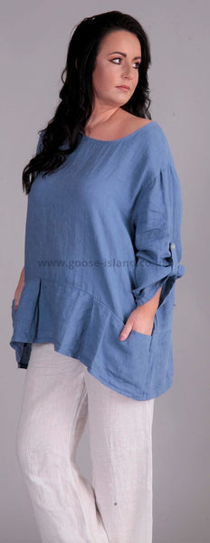 Blue Linen Pocket Top