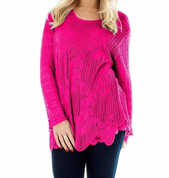Fuschia Crochet Style Long Sleeves Top