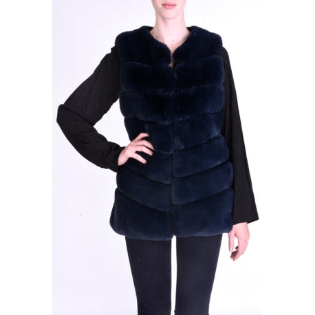 Gilet in Faux Fur Black