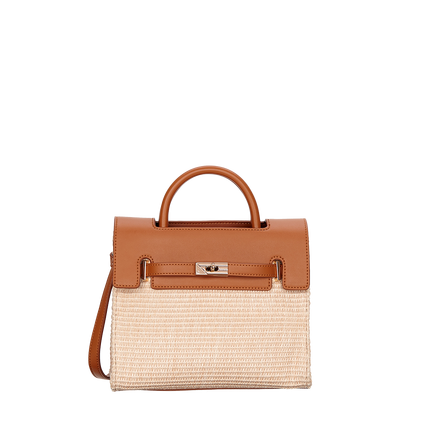 Contrasting Raffia Harlow Mini Tote in Tan by Fiorelli
