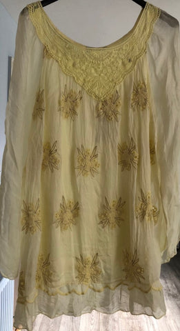 Lemon Silky Top with Gold Coloured Detail