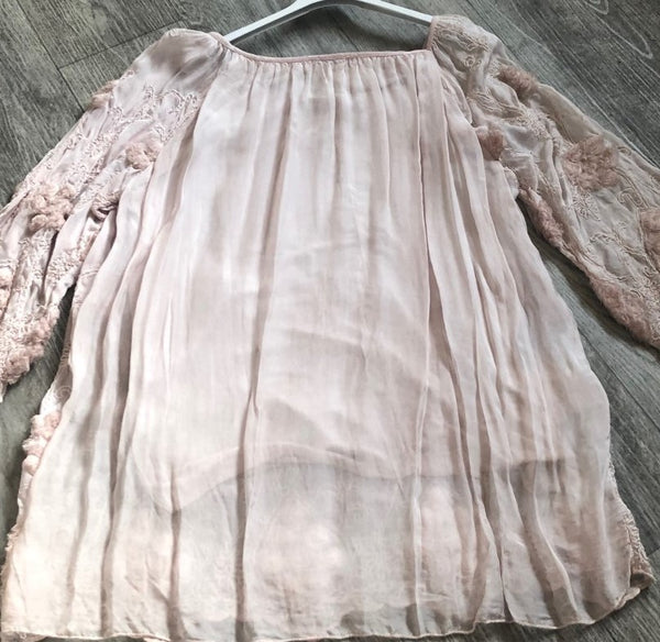 A NEW:  Leaf Embellished Gypsy Top in Dusky Pink