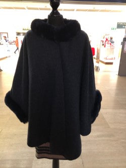 Navy Cape with Faux Fur Neckline