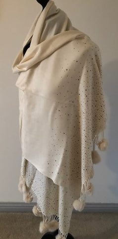 Pashmina in Cream Diamonte with Pom Poms