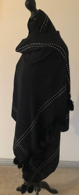 Diamonte Pashmina with Pom Poms in Black