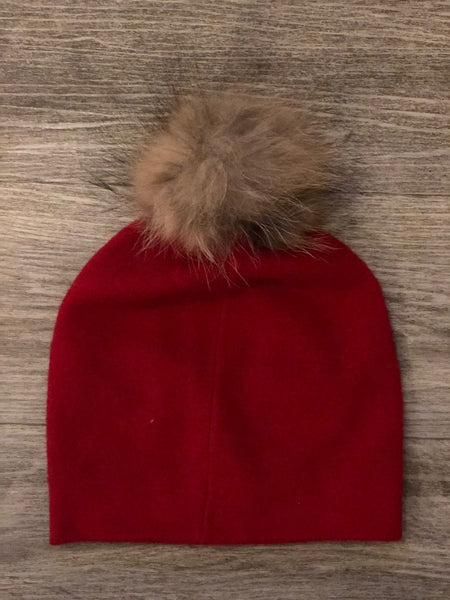 Red Diamone Hat With Natural  Pom Pom