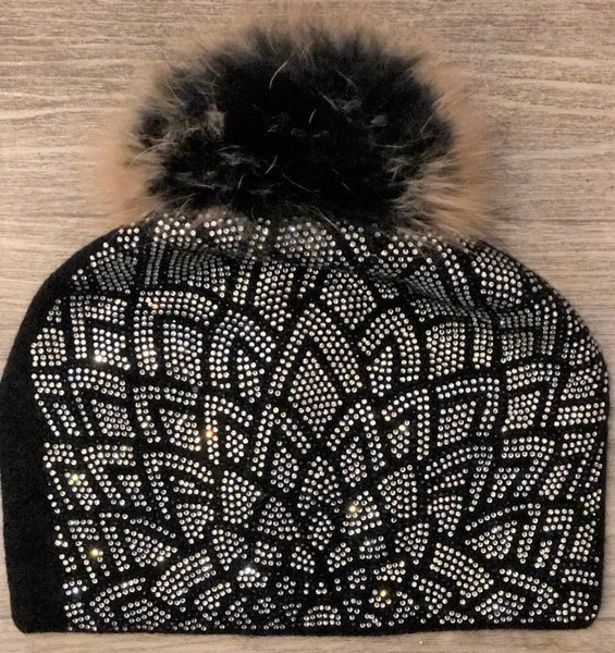 Black Diamone Hat With Natural  Pom Pom