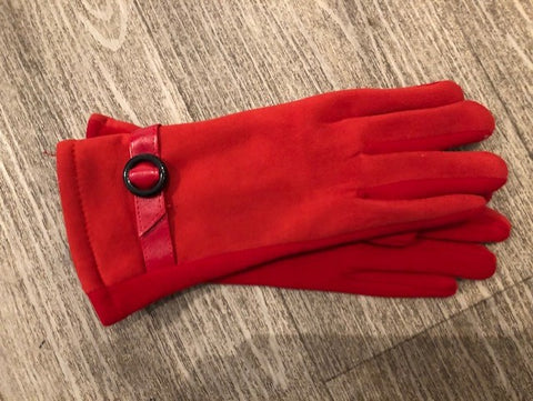 Red Faux Suede Touch Screen Gloves