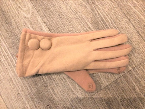 Faux Suede Touch Screen Gloves in Camel