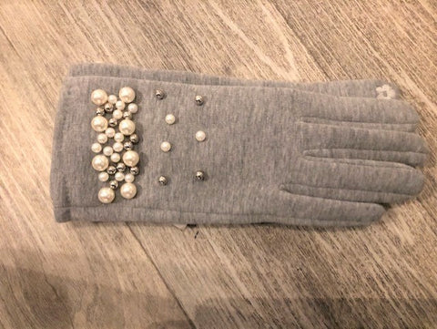 Grey Touch Screen Gloves With Pearl Design