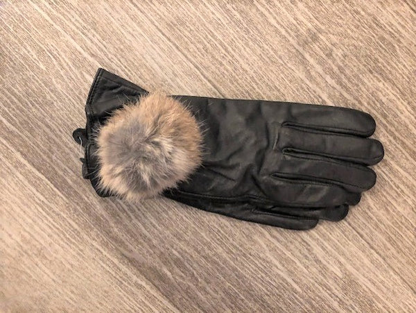 Black Leather Gloves with Brown Pom