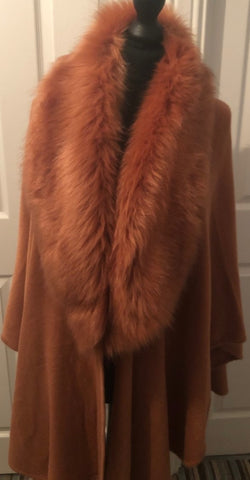 Faux Fur Wrap Style Cape in Coccio