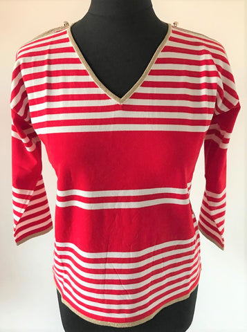 Red Cold Shoulder Stripe Knit Top