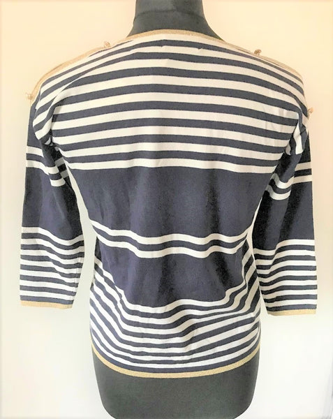 Cold Shoulder Stripe Knit Top in Navy