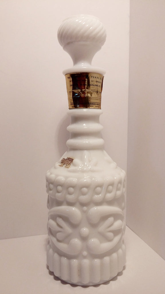 Jim Beam White Glass Decanter Vintage Small Town Antiques