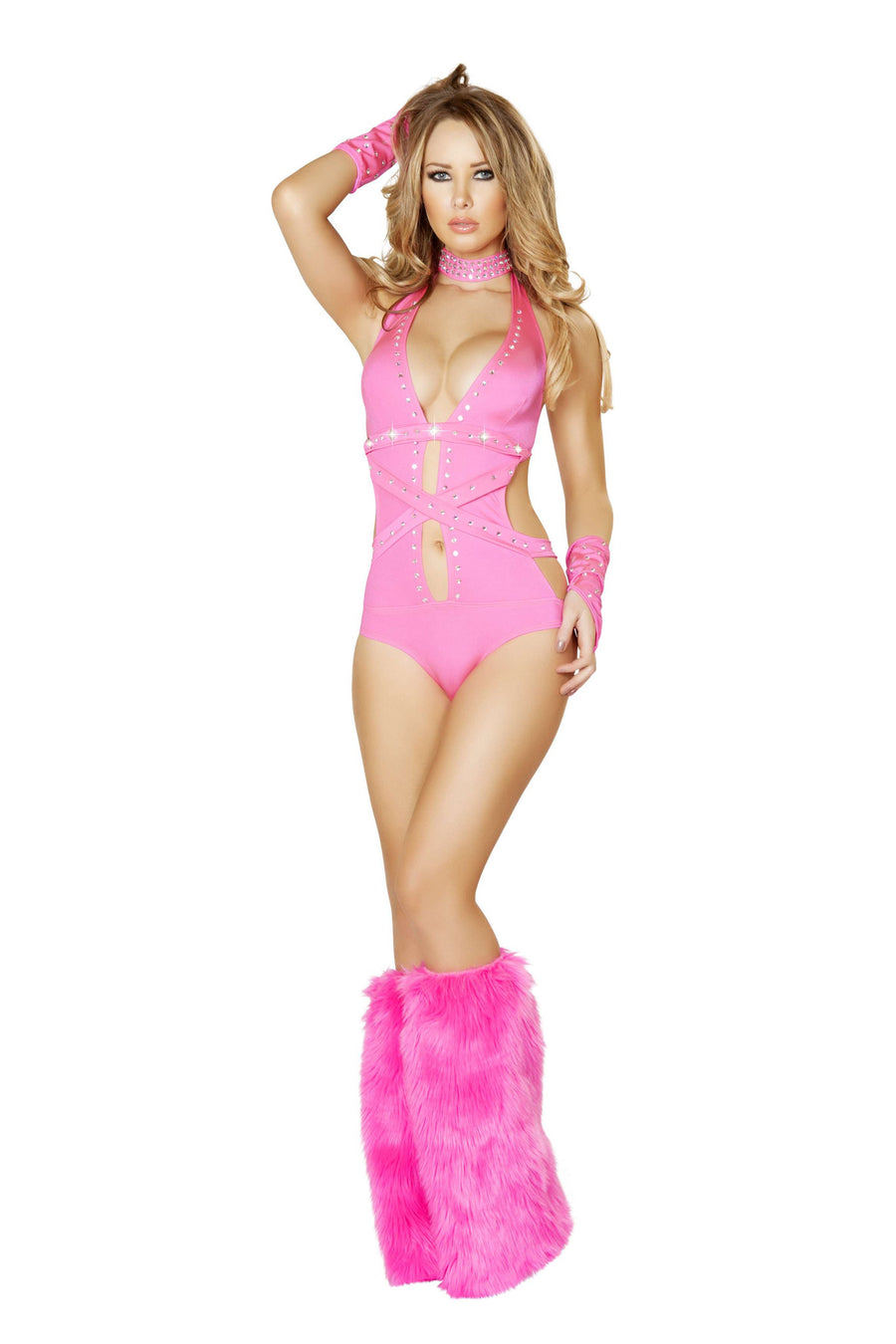 1Pc Rhinestone Romper w/Strap and Mirror Detail - Hot Pink