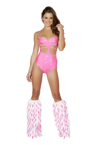 1Pc Strapped Monokini w/Rhinestone Detail