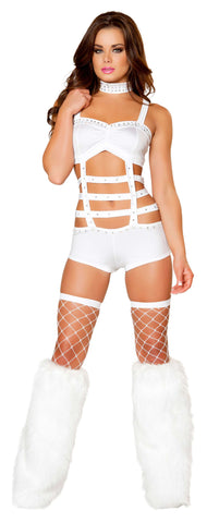 1pc Cage Strapped Monokini w/ Rhinestone Detail - White