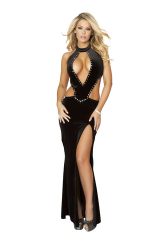 1pc Cropped Gown w/ Front Slit & Rhinestone Detail - Black