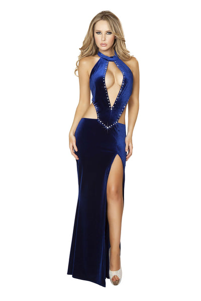1pc Cropped Gown w/ Front Slit & Rhinestone Detail - Navy Blue