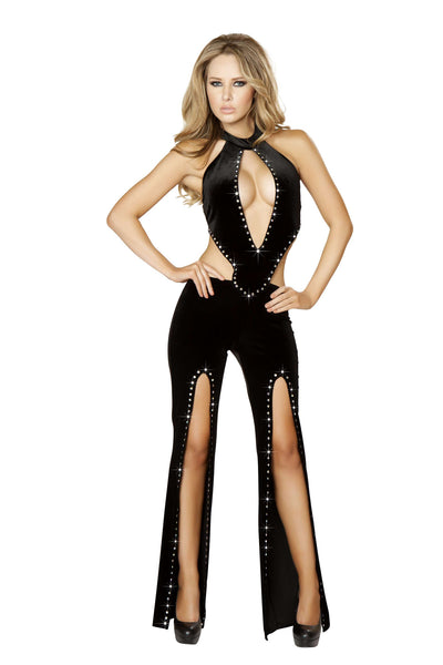 1pc Cropped Jumpsuit w/ Slit Legs & Rhinestone Detail