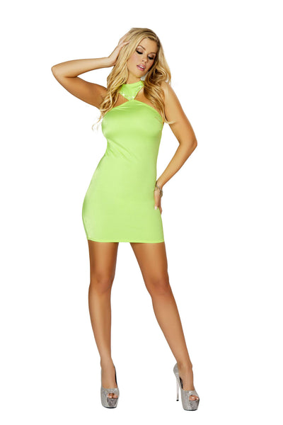 1pc Cropped Mini Dress w/ Open Back and Rhinestone Detail - Lime