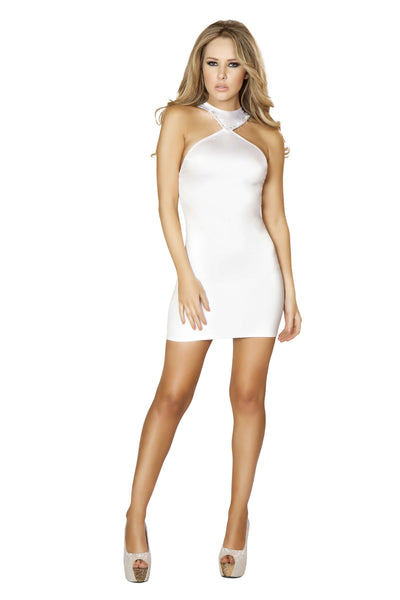 1pc Cropped Mini Dress w/ Open Back and Rhinestone Detail - White
