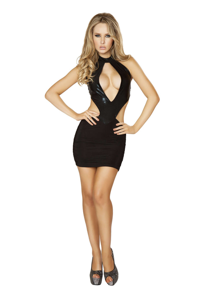 1pc Cut out Front and sides Mini Dress w/ Scrunched Skirt Detail - Black